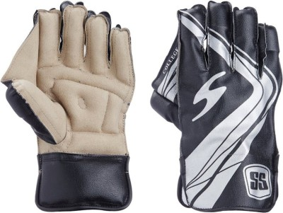 SS Collage Wicket Keeping Gloves (Boys, Black, Brown)