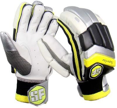 Stanford Super Lite Mens Batting Gloves (L, White, Yellow, Black)