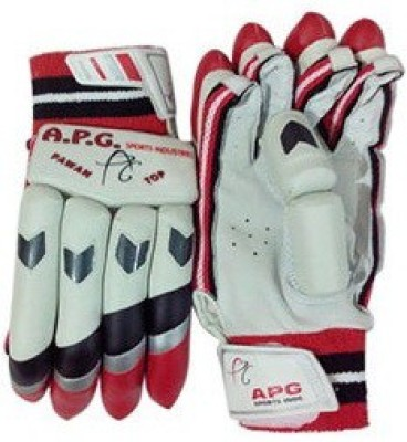 APG Pawan Top Batting Gloves (Men, White, Red)