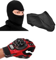 Pro Biker Bike Riding Facemask And Bike Body Cover Driving Gloves (XL, Red, Black)