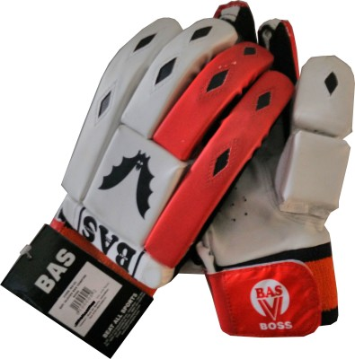 BAS BOSS Batting Gloves (Free Size, Red, White)