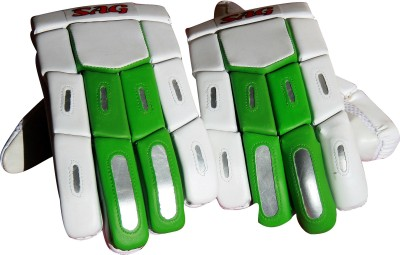 Three Wickets SAG Batting Gloves (Men, White, Green)