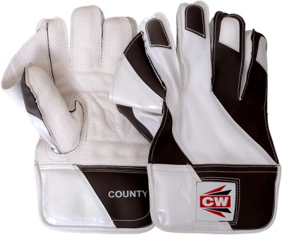 CW County Wicket Keeping Gloves (Free Size, Black, White)