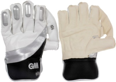 GM 606 Wicket Keeping Gloves (Men, White, Black, Silver)