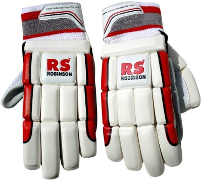 RS Robinson RS Batting Gloves (XL, White, Red)