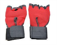 Sports 101 Netted With Wrist Support Gym & Fitness Gloves (Free Size, Red, Black)