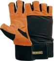 Nivia Leather With Wrist Band Gym & Fitness Gloves - L, Black, Orange