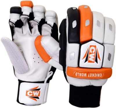 CW Crown Batting Gloves (Men, White, Orange)