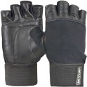 Nivia Leather Gym & Fitness Gloves With Wrist Wrap - L, Black