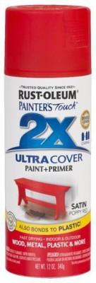 Rust-Oleum Painter's Touch Satin Poppy Red Spray Paint 340 ml