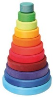 Grimm's Spiel Und Holz Design Large Wooden Conical Stacking Tower, 11-Piece Rainbow Colored Stacker, Made In Germany (Multicolor)