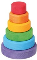 Grimm's Spiel Und Holz Design Grimm's Small WoodenRainbow Conical Stacking Tower, Made In Germany (Multicolor)