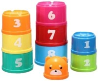 Little Grin Non Toxic Baby Stacking Joy Cups With Numbers And Alphabets For Infants And Toddlers Gift Toy For Kids (Multicolor)