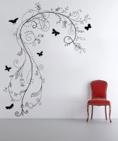 Decor Kafe Decal Style ButterFly Branch Floral Art Small Size- 19*25 Inch Wall Sticker Sticker (Pack Of 1)