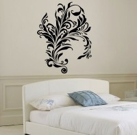 Décor Kafe Decal Style Swirl Design Wall Large Size-27*36 Inch Color - Black Vinyl Film Sticker (Pack Of 1)