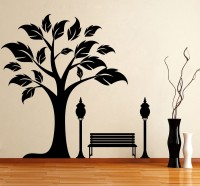 Décor Kafe Decal Style Tree Side Wall Medium Size-30*29 Inch Color - Black Vinyl Film Sticker (Pack Of 1)