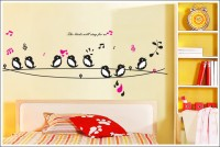 Oren Empower Singing Bird Decorative Removable Wall Sticker (58 Cm X Cm 160, Multicolor)