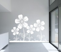 Decor Kafe Decal Style Flowers Medium Size-36*24 Inch Vinyl Film Sticker (Pack Of 1)