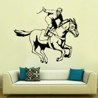 Decor Kafe Decal Style Horse Riding Art Small Size-24*21 Inch Wall Sticker Sticker (Pack Of 1)