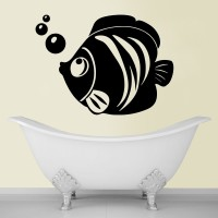 Decor Kafe Decal Style Fish And Bubbles Bath Medium Size-23 X 16 Inch Black Vinyl Film Sticker (Pack Of 1)