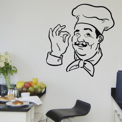 Decor Kafe Decal Style Chef Print Wall Art Small Size-15* 16 Inch Color- Black Wall Sticker (Pack Of 1)