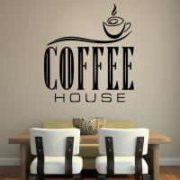 Decor Kafe Decal Style Coffee House Wall Art Large Size- 23 * 25 Inch Color - Black Wall Sticker (Pack Of 1)