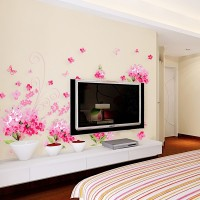Oren Empower Pink Flower Petal Removable Wall Sticker (90 Cm X Cm 150, Pink)