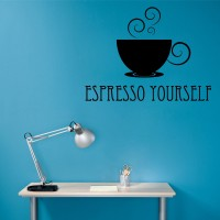 Decor Kafe Decal Style Expresso Yourself Wall Art Medium Size- 21* 16 Inch Color - Black Wall Sticker (Pack Of 1)