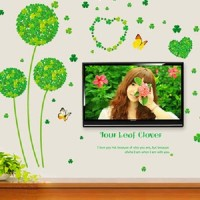 SYGA Green Four Leaf Clover Wall Pvc Vinyle Sticker (Pack Of 1)