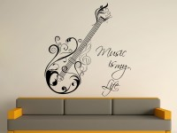 Decor Kafe Decal Style Music Is My Life Art Medium Size-30*33 Inch Wall Sticker Sticker (Pack Of 1)