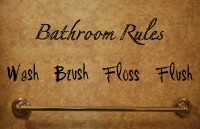 Decor Kafe Bathroom Rules Wall Decal Large Size-37 X 12 Inch Black Vinyl Film Sticker (Pack Of 1)