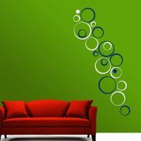 Wow Interiors Blue And White Circle Wall Sticker Large Acrylic Sticker (Pack Of 20)
