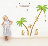 Oren Empower Monkey Climbing Trees Wall Stickers (125 Cm X Cm 120, Multicolor)