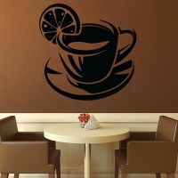 Decor Kafe Decal Style Lemon Coffe Wall Art Large Size- 22* 22 Inch Color - Black Wall Sticker (Pack Of 1)