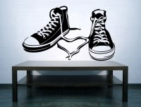 Decor Kafe Decal Style Shoes Wall Small Size-18*10 Inch Vinyl Film Sticker (Pack Of 1)