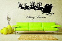Decor Kafe Decal Style Santa Comes With Deers Art Large Size-30*15 Inch Wall Sticker Sticker (Pack Of 1)