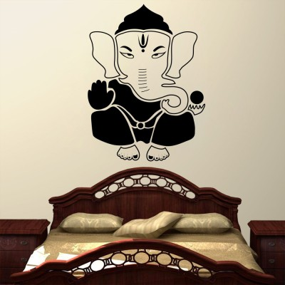 Decor Kafe Lord Ganesha Wall Decal Large Size-32*43 Inch Color - Black Wall Sticker Sticker (Pack Of 1)