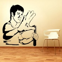 Décor Kafe Decal Style Bruce Lee Art Tiny Size-12*14 Inch Wall Sticker Sticker (Pack Of 1)