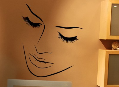 Decor Kafe Creative Face Self Adhesive Wall Decal Large Size-29*34 Inch Color - Black Wall Sticker Sticker (Pack Of 1)