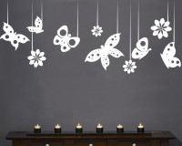 Decor Kafe Decal Style ButterFlies In A Row Art Large Size-35*14 Inch Wall Sticker Sticker (Pack Of 1)