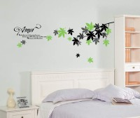 Oren Empower Beautiful Leaves In Green Black And Grey With Amor Love Poem Wall Decals (60 Cm X Cm 140, Multicolor)