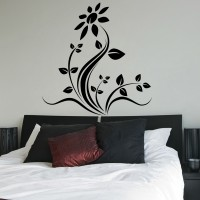 Decor Kafe Decal Style Floral Wall Medium Size-30*31 Inch Color - Black Vinyl Film Sticker (Pack Of 1)