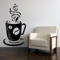 Decor Kafe Decal Style Coffee Wall Art Small Size- 14* 27 Inch Color - Black Wall Sticker (Pack Of 1)