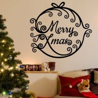Decor Kafe Decal Style Merry Xmas Wall Decal Large Size-24*22 Inch Color - Black Vinyl Film Sticker (Pack Of 1)
