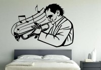 Decor Kafe Men In Trumpet Self Adhesive Wall Decal Large Size-45*31 Inch Wall Sticker Sticker (Pack Of 1)