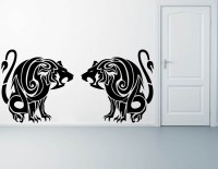 Decor Kafe Two Lions Self Adhesive Wall Decal Large Size-53*25 Inch Wall Sticker Sticker (Pack Of 1)