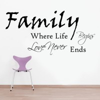 Decor Kafe Decal Style Family Never Ends Art Medium Size-35*17 Inch Wall Sticker Sticker (Pack Of 1)