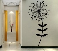 Decor Kafe Decal Style SunFlower With Dot Leaves Art Small Size-16*34 Inch Wall Sticker Sticker (Pack Of 1)