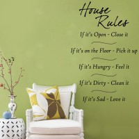 Decor Kafe Decal Style House Rules Art Tiny Size-12*16 Inch Wall Sticker Sticker (Pack Of 1)