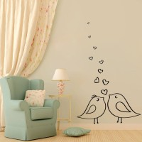 Decor Kafe Decal Style Birds In Love Wall Small Size-13*21 Inch Vinyl Film Sticker (Pack Of 1)